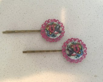 Pink and Tatoo Glass Clips