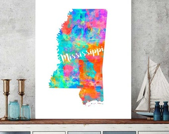 Mississippi Map Printable, Mississippi Map Gift, Wall Art Decor, Watercolor Prints, Jackson Poster Birthday Gift