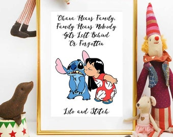 Ohana Means Family Print, Lilo And Stitch Birthday Print, Disney Quotes, Lilo And Stitch Printable Decorations, Instant Download