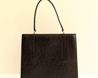 Black Ostrich Leather Handbag Vintage 1950/1960
