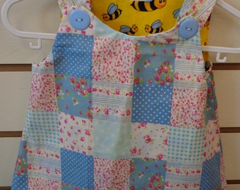 Reversible Baby Girl Dress, Cute Patchwork & Bumble bees (5263)