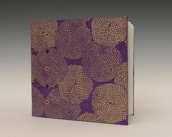 Square Sketchbook with Gold flowers and Mauve background covers