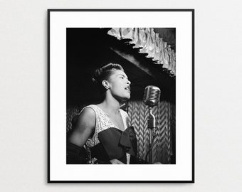 Billie Holiday Photo - Jazz Singer - Vintage Celebrity - 1940s - Black and White Photography - Wall Art - African American Woman Artist