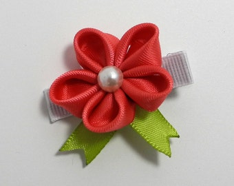 Pink & Green Flower Hair Clip