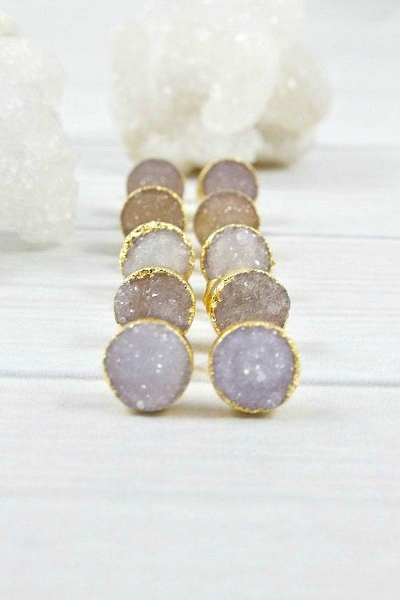 gold druzy earring studs