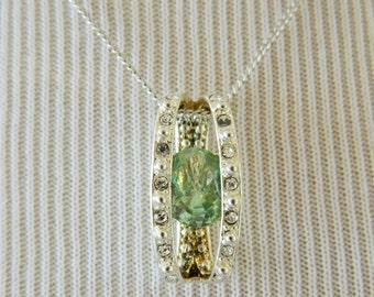 "Vintage NRT Geometric Rhinestone Pendant Necklace Clear & Pale Green Rhinestones Silver Tone 17"""