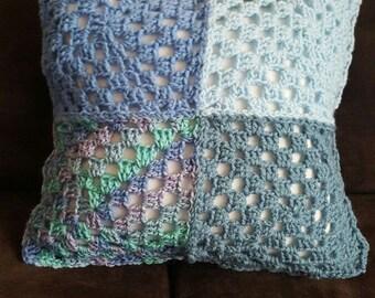"""15"""" Crochet Granny Square Pillow"""