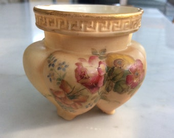 1897 Royal Worcester hand painted tri-footed posy vase