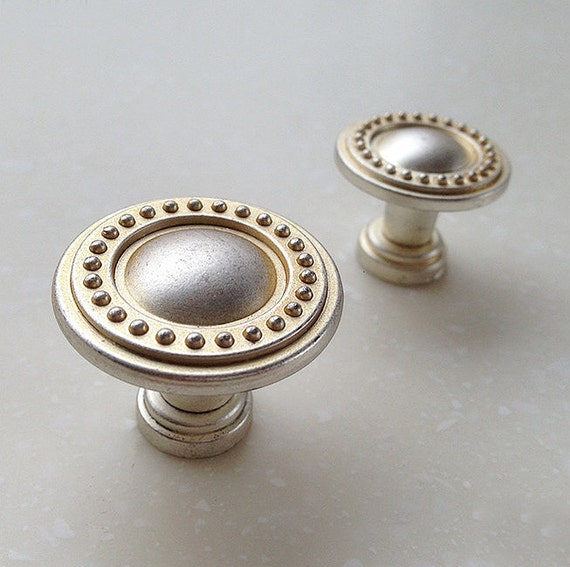 French Shabby Chic Dresser Knobs / Antique Silver Kitchen Cabinet Pull Knobs Furniture Hardware