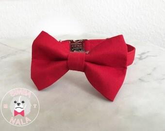 Red Bow Tie Dog Collar /Plain Pattern/Dark Red/Cute Bow Tie Dog Collar/Wedding Gift/Summer/Festive/Birthday