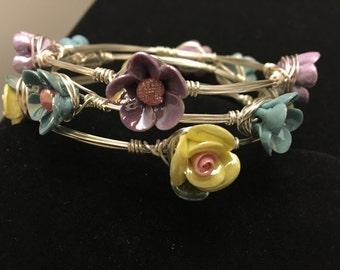 Beautiful Handcrafted Flowery Bangle Set