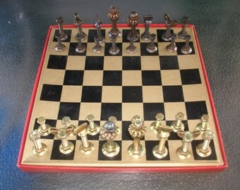 Nuts and Bolts Chess Set - Industrial Chess Set - Unique Chess Set - Metal Chess Set