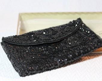 Vintage La Regale Black Evening Clutch - Sequins and Beads