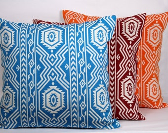 Orange maroon turquoise throw pillow white base geometric pillow case 24x24 pillow throw pillow covers 20x20 cushion cover 18x18 pillow