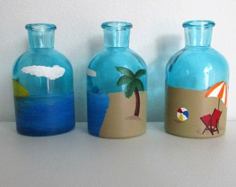 Hand-Painted Decorative Blue Bottles featuring a Beach Scene, set of 3