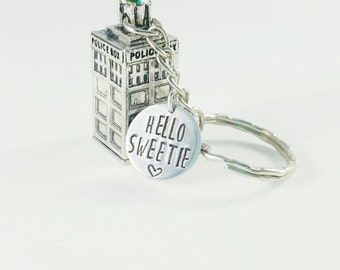Tardis Keychain - Doctor Who inspired -Bad Wolf- Snog box -Hello Sweetie
