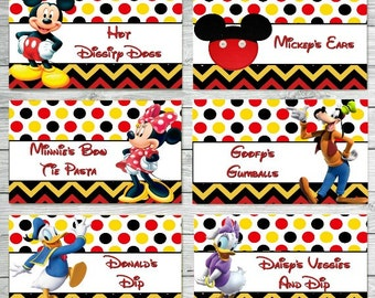CUSTOMIZED Mickey Food Labels, Mickey Mouse Clubhouse Food Labels, Mickey Food Tents, Mickey Birthday Party, Mickey Party