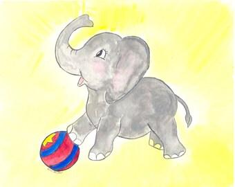 Circus elephant watercolor nursery art