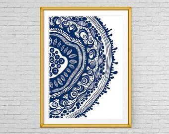 Printable Blue abstract art Boho Wall Art Decor Abstract wall print