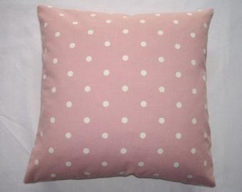 Dotty polka dot design pink cushion cover 40cm x40cm.
