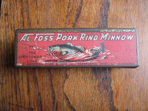 Vintage al foss pork rind minnow tin box for Pork rind fishing