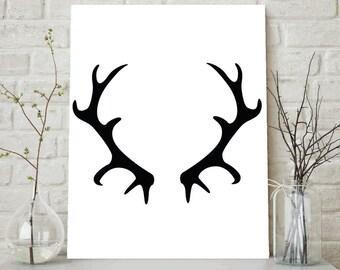 Antler Art, Black Antlers, Antler Print, Black and White Decor, Printables, Digital Art, Black Decor, Black and White Antlers