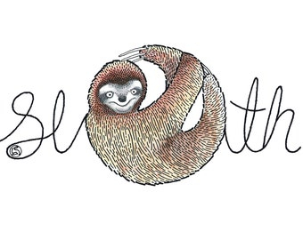 Sloth - card OR mounted print by Racheal Bamford - illustrated letters using three toed sloth