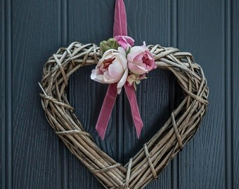 Heart Shaped Wreath with Silk Flowers
