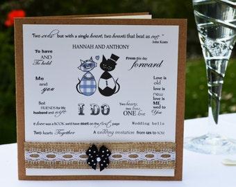 Purr-fect Vintage Wedding Invitation