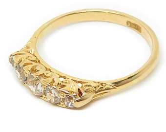 Antique Five Stone Diamond Ring, 18ct Gold, Victorian Diamond Ring, Free Shipping.