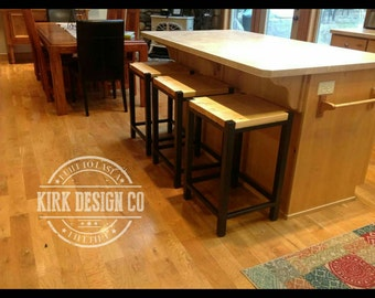 Industrial rustic wood and metal counter stool