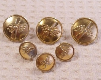 Vintage Soviet buttons. Set of 6 pieces. Buttons pilots. Metal buttons. Made in USSR