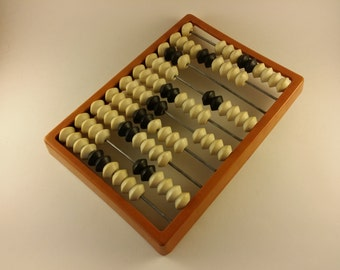 Small vintage abacus. Old calculator. Plastic abacus. Home decor. Made in USSR