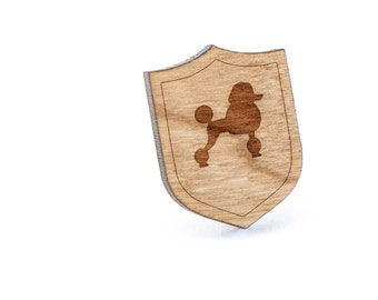 Toy Poodle Lapel Pin, Wooden Pin, Wooden Lapel, Gift For Him or Her, Wedding Gifts, Groomsman Gifts, and Personalized