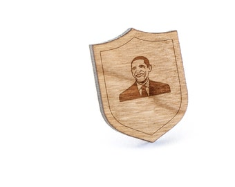 Obama Lapel Pin, Wooden Pin, Wooden Lapel, Gift For Him or Her, Wedding Gifts, Groomsman Gifts, and Personalized