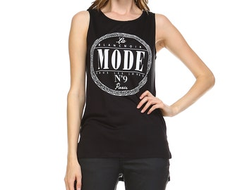 Fashionazzle Women's Sleeveless Round Neck Letters Print High Low Top