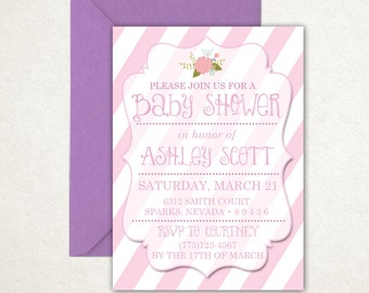 Pink floral baby shower invitation, stripes, girly invitation, baby girl