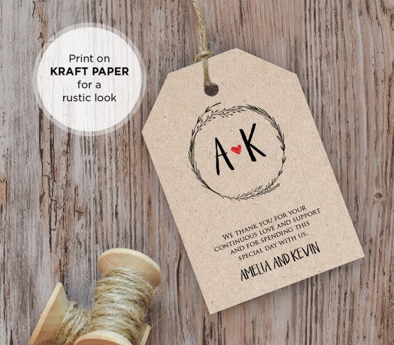 Rustic Wedding Tag Template, Favor Tag, Guest Bag, Thank You Tag, Printable Tag, INSTANT DOWNLOAD, Editable Text, PDF Template, Digital File