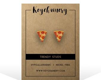 Pepperoni Pizza Stud Earrings - Food Earrings - Junk Food - Nickel-free Stud Earrings