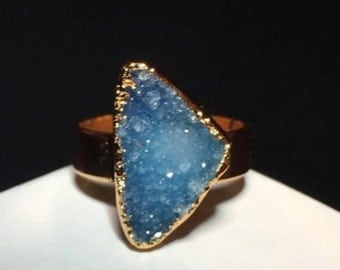 Heat Of The Sea Druzy Gold Ring