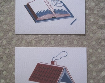 Set of two postcards