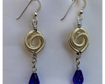 Silver Coiled Wire Earrings with Blue Teardrop Glass Beads - #11273
