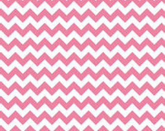 Riley Blake, Small Chevron, Hot Pink and White, fabric by the yard