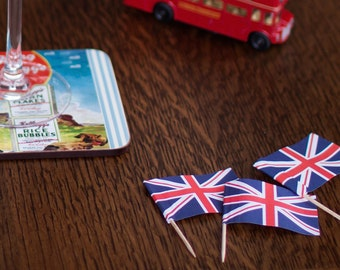 Victory Vintage Wartime Wedding Table Confetti - Union Jack British Flag Picks - 1940s Wedding VE Day Victory Tea Party - Pack of 50