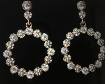 Bridal Earrings - 14K Gold Plated Austrian Crystal Elegant Round DropEarrings
