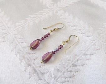 Gold and Amethyst Swarovski Crystal Drop Earrings, GE-104