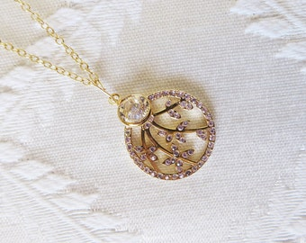 Gold Finish Necklace with Leaf Branch Circle Charm with Violet Crystals, GN-164