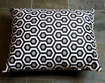 Dog Bed Cover, Custom Cuddle Favo Black/Oyster/Snow Pet Bed, Modern Dog Duvet, Made to Order, Washable, Charity, aDOGable Essentials