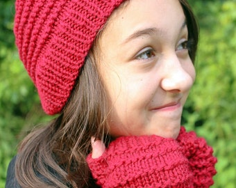 Kids Winter Hat and Gloves Set,  Red Knit Beanie for Kids, Fingerless Gloves and Matching Hat, Wool Mittens, Hand Knit