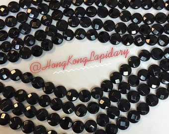 12MM black Onyx Faceted Coin beads